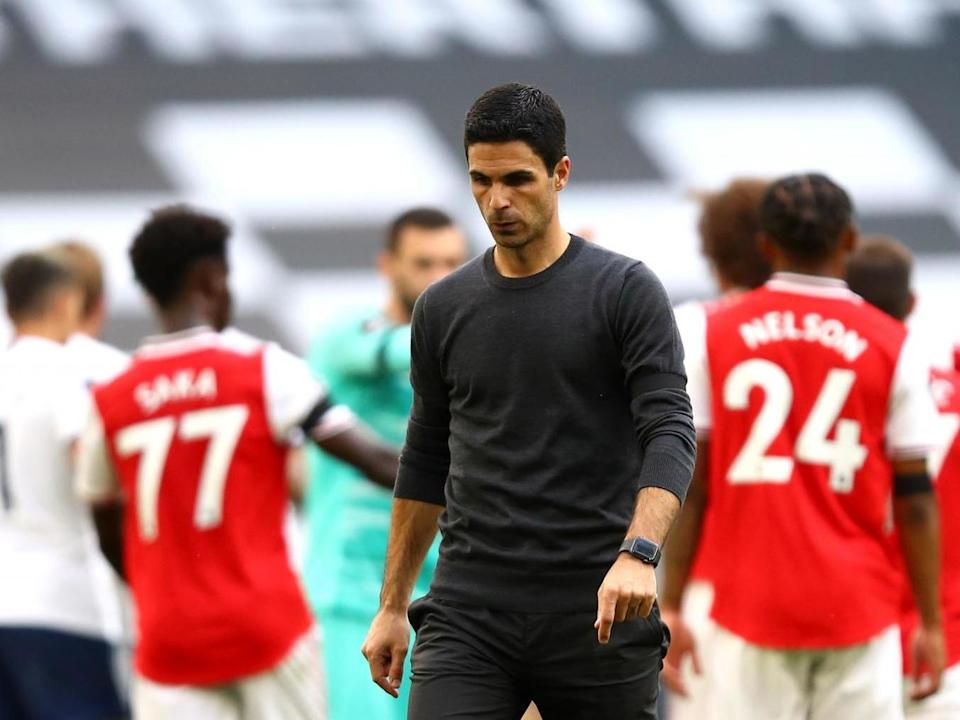 Arsenal manager Mikel Arteta appears dejected: PA