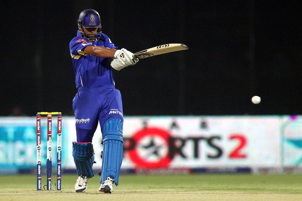 Rajasthan Royals captain Rahul Dravid pulls a delivery during the eliminator match of the 2013 Pepsi Indian Premier League between The Rajasthan Royals and the Sunrisers Hyderabad held at the Feroz Shah Kotla Stadium, Delhi on the 22nd May 2013. (BCCI)