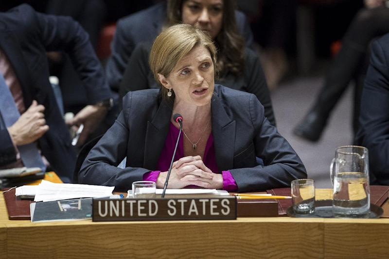 In this photo provided by the United Nations, Samantha Power, U.S. Ambassador to the United Nations, addresses the United Nations Security Council, after the council voted on condemning Israel's settlements in the West Bank and east Jerusalem, Friday, Dec. 23, 2016 at United Nations Headquarters.  In a striking rupture with past practice, the United States allowed the U.N. Security Council on Friday to condemn Israel. (Manuel Elias/The United Nations via AP)
