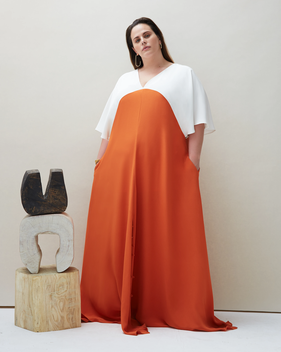 "<br><br><strong>Coyan</strong> Made-To-Order Seta Gown in Orange, $, available at <a href=""https://go.skimresources.com/?id=30283X879131&url=https%3A%2F%2Fcoyanstudio.com%2Fproducts%2Fseta-gown-orange%3Fvariant%3D29273695420513%23image-11843753902177"" rel=""nofollow noopener"" target=""_blank"" data-ylk=""slk:Coyan"" class=""link rapid-noclick-resp"">Coyan</a>"