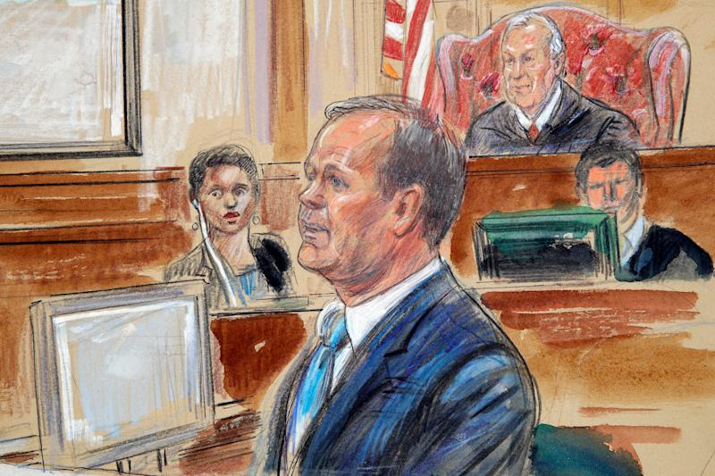This courtroom sketch depicts Rick Gates, right, testifying last year during questioning in the bank fraud and tax evasion trial of Paul Manafort. (Dana Verkouteren via AP)