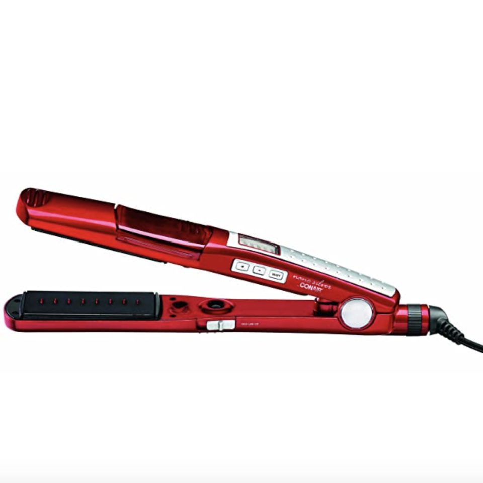 """<p><strong>Conair</strong></p><p>amazon.com</p><p><strong>$59.99</strong></p><p><a href=""""https://www.amazon.com/dp/B00132TISE?tag=syn-yahoo-20&ascsubtag=%5Bartid%7C10055.g.34894772%5Bsrc%7Cyahoo-us"""" rel=""""nofollow noopener"""" target=""""_blank"""" data-ylk=""""slk:Shop Now"""" class=""""link rapid-noclick-resp"""">Shop Now</a></p><p>A straightener that <a href=""""https://www.goodhousekeeping.com/beauty/hair/g3626/best-hair-moisturizers/"""" rel=""""nofollow noopener"""" target=""""_blank"""" data-ylk=""""slk:hydrates hair"""" class=""""link rapid-noclick-resp"""">hydrates hair</a> instead of drying it out? Yes, really. <strong>Conair's steam flat iron locks moisture into strands every time you swipe</strong> and steam is released. """"I was afraid of damage and agree with the other reviewers who've found this iron to impart a healthy gloss to hair rather than frying it,"""" an Amazon reviewer shared.</p>"""
