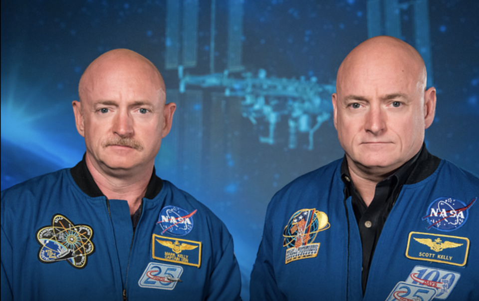 Identical twins Mark Kelly (left) and Scott Kelly (right).