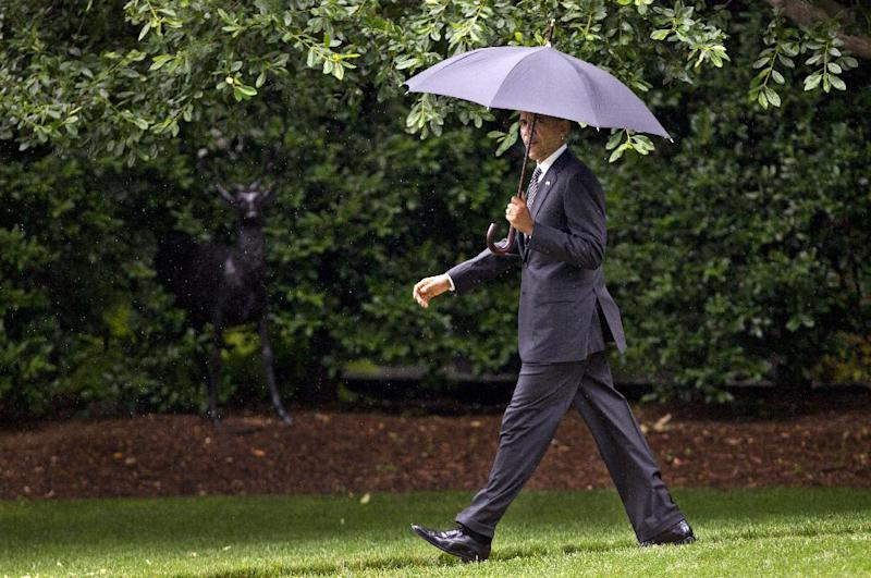 President Barack Obama walks on the South Lawn of the White House in Washington, Tuesday, June 12, 2012, to board the Marine One, for campaign stops in Baltimore and Philadelphia. (AP Photo/Manuel Balce Ceneta)