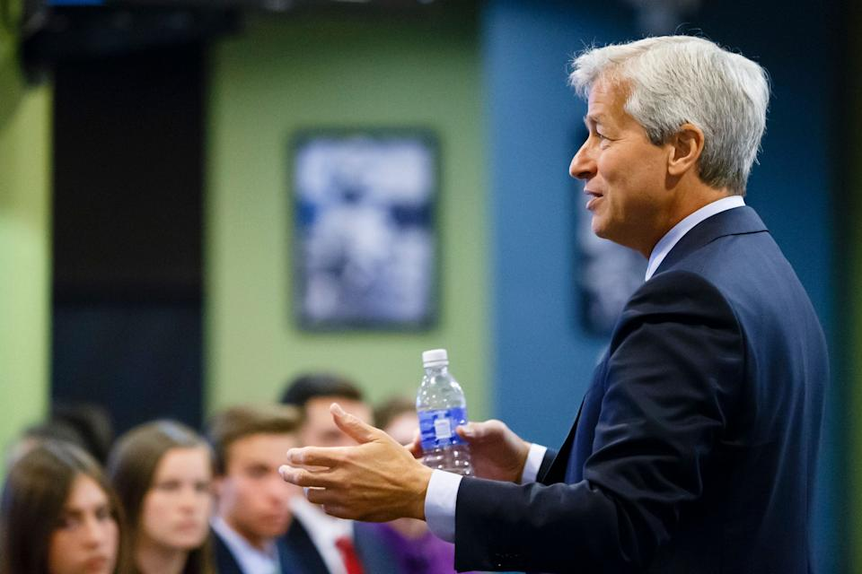 JPMorgan Chase Chairman and CEO Jamie Dimon is talking with students during a Detroit Economic Club event at Ford Field on Thursday, September 17, 2015 in Detroit. (Photo by Rick Osentoski/AP Images for JPMorgan & Chase Co.)