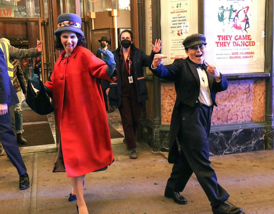 <p>Brosnahan and Borstein joked around on set while filming on April 26. </p>