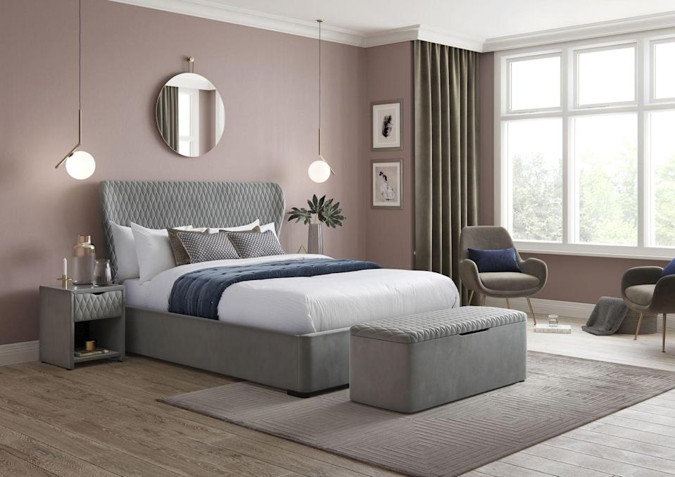"""<p>Soft grey and pink is a winning combination in the bedroom, creating a stylish space that is still calm and inviting. If you have the space, an ottoman like this at the end of the bed is so useful. It's great for storing spare bedding, cushions, or even your nightwear, and it doubles up as a bench, too.</p><p>Pictured: Grove Velvet Finish Upholstered Ottoman Bed Frame and Grove Grey Blanket Box, both from the <a href=""""https://www.dreams.co.uk/house-beautiful/all"""" rel=""""nofollow noopener"""" target=""""_blank"""" data-ylk=""""slk:House Beautiful collection at Dreams"""" class=""""link rapid-noclick-resp"""">House Beautiful collection at Dreams</a></p>"""