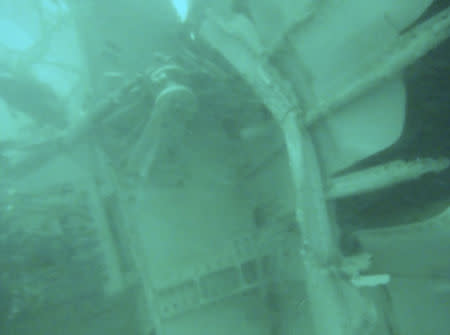 What is believed to be wreckage from crashed AirAsia flight QZ8501 in the Java Sea is pictured in this underwater photograph released by Indonesia's National Search And Rescue Agency, January 7, 2015. REUTERS/BASARNAS/