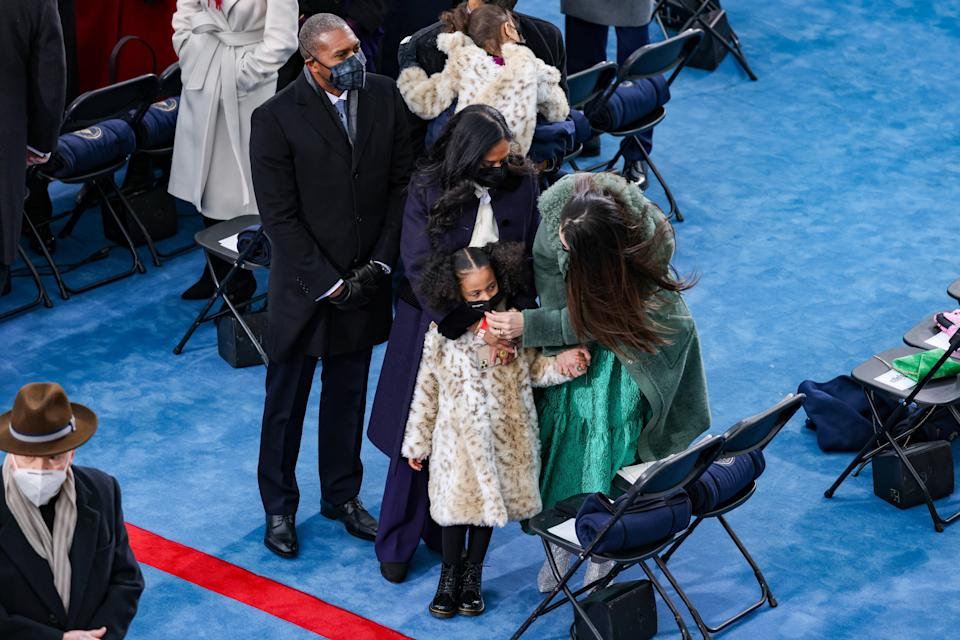 During the inauguration ceremony, the Vice President's entire family showed off their best attires but it was Harris's extremely adorable great-nieces in their matching leopard print coats that definitely stole the show. Fashion forces in the making!