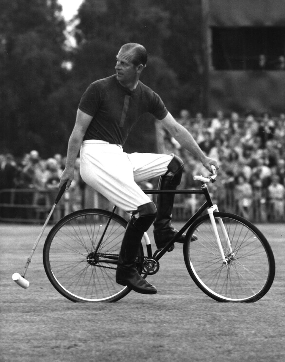 <p>The Prince proved he was fit as a fiddle while competing in a bicycle polo match at the age of 46 in August 1967. Photo: Getty Images.</p>