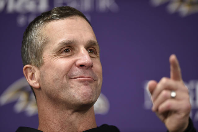 FILE - In this Dec. 30, 2018, file photo, Baltimore Ravens head coach John Harbaugh speaks at a news conference after an NFL football game against the Cleveland Browns, in Baltimore. It should be a busy offseason for Harbaugh, who's working with a new contract, adjusting to a first-year general manager and teaming with a different offensive coordinator. (AP Photo/Gail Burton, File)