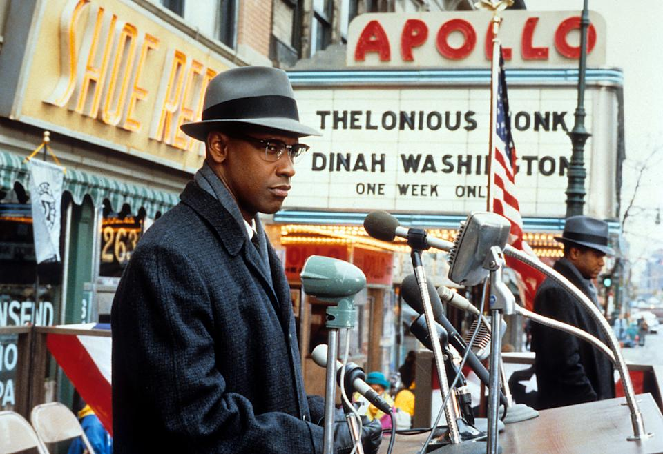 Denzel Washington in a scene from Spike Lee's biopic of the African-American activist, 'Malcolm X', 1992. (Photo by Largo International NV/Getty Images)