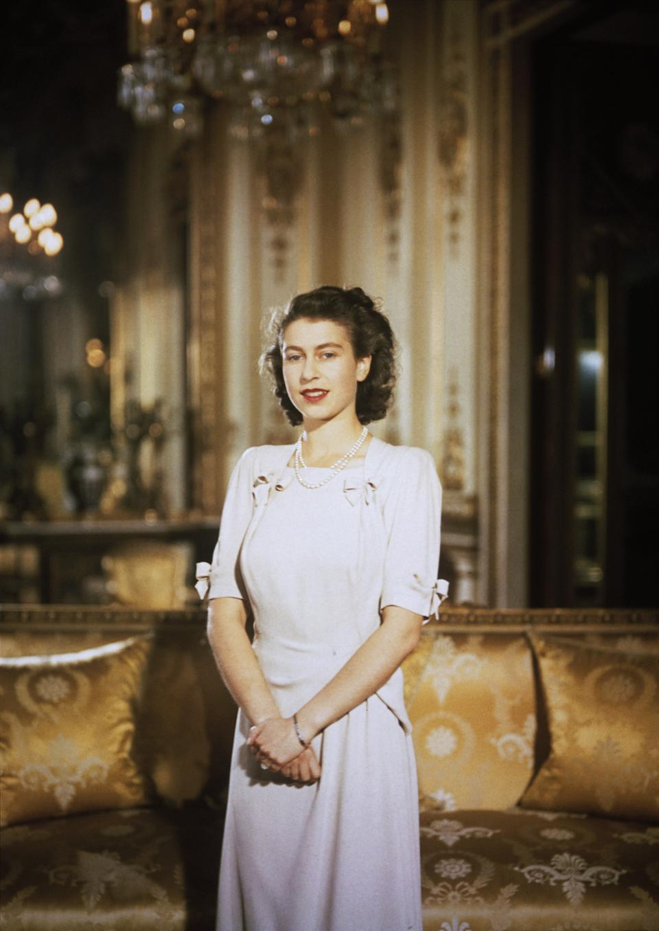 Princess Elizabeth poses during engagement announcement.