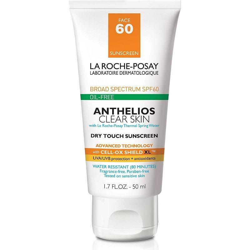 """Formulated with acne-prone skin in mind, La Roche-Posay's Anthelios Clear Skin SPF 60+ Dry Touch Sunscreen imparts a matte, shine-free, and oil-free finish that doesn't clog pores and turn into a breeding ground for breakouts. This 2020 <em>Allure</em> Best of Beauty winner contains silica and <a href=""""https://www.ewg.org/skindeep/ingredients/722123-PERLITE/"""" rel=""""nofollow noopener"""" target=""""_blank"""" data-ylk=""""slk:perlite"""" class=""""link rapid-noclick-resp"""">perlite</a> (which is also found in many foundations) to absorb excess oil and reduce the appearance of shine. It also stays water-resistant for up to 80 minutes, making it a great option for active people who love spending time outdoors."""