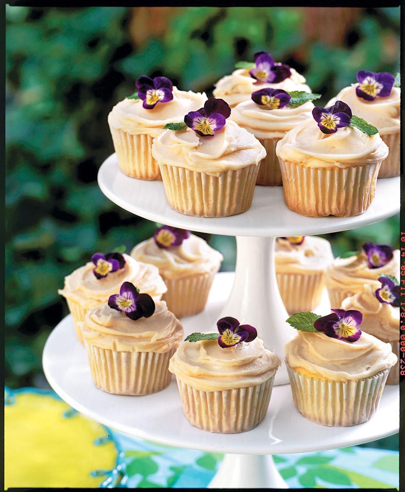"""<p><b>Recipe:</b> <strong><a rel=""""nofollow"""" href=""""http://www.myrecipes.com/recipe/cupcakes-with-browned-butter-frosting-10000001176250/"""">Pound Cake Cupcakes with Browned Butter Frosting</a></strong></p> <p>Cupcakes are making a comeback, especially with recipes like this featuring Browned Butter Frosting. These easily transported mini desserts are perfect for kids or for the young at heart!</p>"""