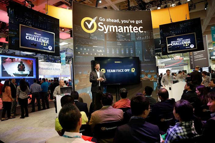 A presentation is made in the Symantec booth during the RSA Conference on Wednesday, April 22, 2015, in San Francisco.