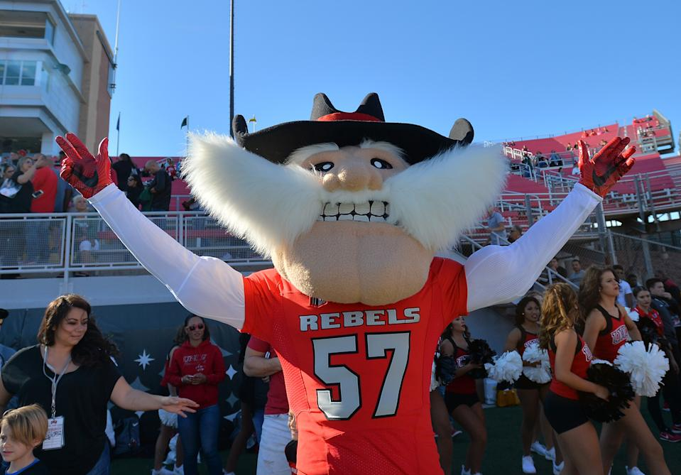 LAS VEGAS, NV - NOVEMBER 4:  The UNLV Rebels mascot Hey Reb poses before the team's game against the Hawaii Warriors at Sam Boyd Stadium on November 4, 2017 in Las Vegas, Nevada.  (Photo by Sam Wasson/Getty Images)