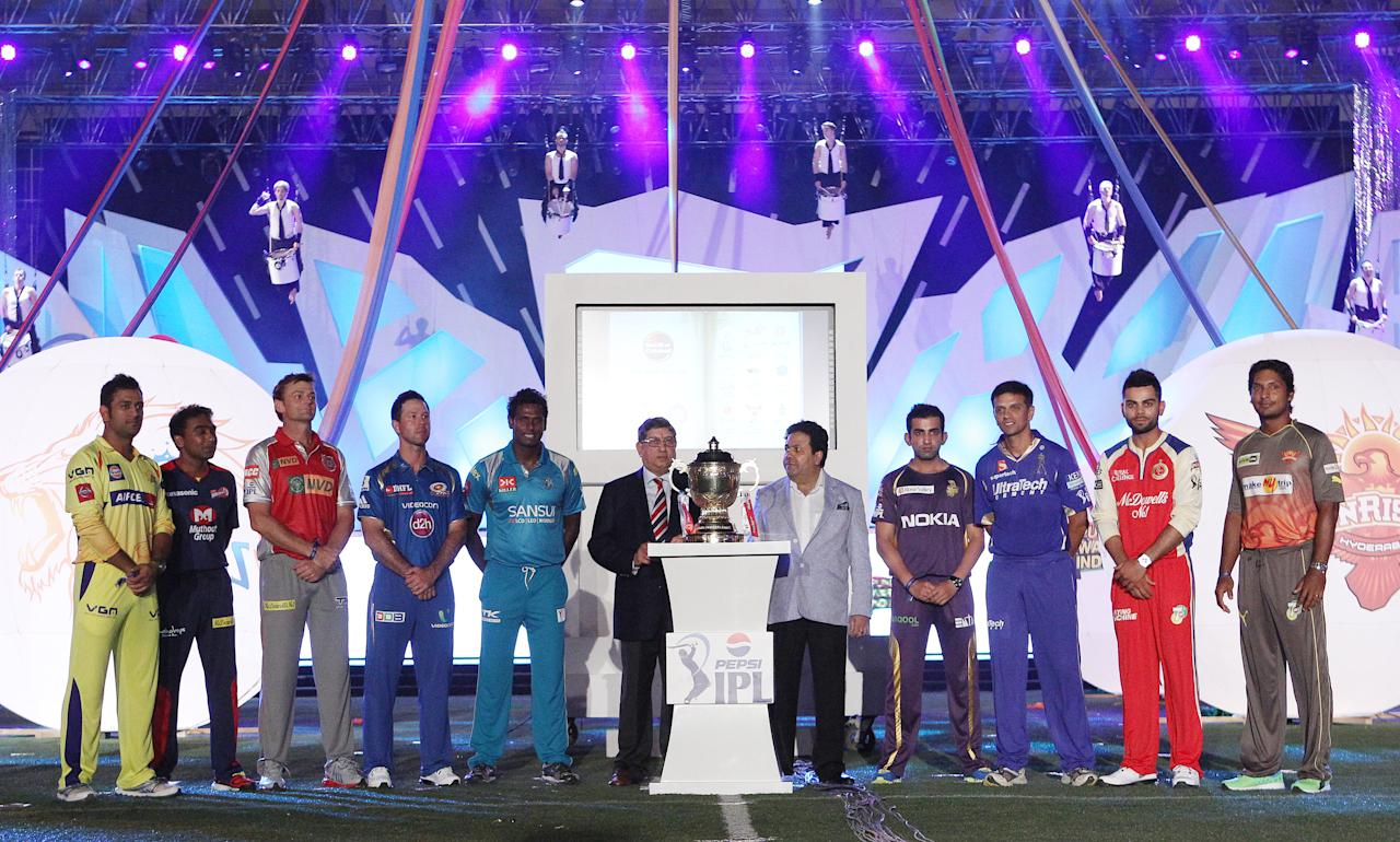 The nine captains line up after signing the MCC Spirit of Cricket board during the Pepsi Indian Premier League opening ceremony held at the Salt Lake Stadium in Kolkata on the 2nd April 2013..Photo by Ron GauntSPORTZPICS ..Use of this image is subject to the terms and conditions as outlined by the BCCI. These terms can be found by following this link:..https://ec.yimg.com/ec?url=http%3a%2f%2fwww.sportzpics.co.za%2fimage%2fI0000SoRagM2cIEc&t=1500893435&sig=vlUoJG5Yn0r2nvwCSRT_hw--~C