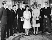 <p>Princess Anne narrowly escapes a kidnapping attempt thanks to the help of Inspector James Beaton, journalist Brian McConnell, and Detective Constable Peter Edmonds (shown here, with Princess Anne, Captain Mark Phillips, and Queen Elizabeth II).</p>