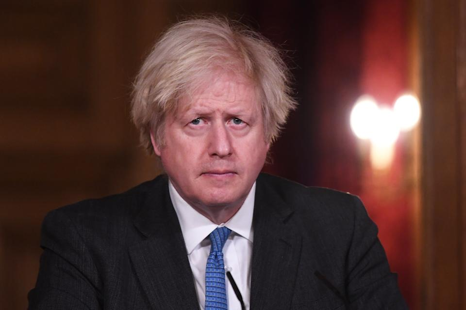 Prime Minister Boris Johnson during a media briefing in Downing Street, London, on coronavirus (Covid-19). Picture date: Monday February 15, 2021.