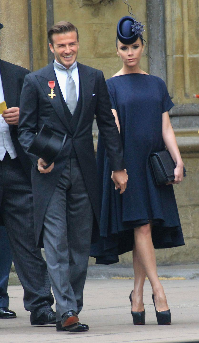 """<p>When David Beckham attended Kate Middleton and Prince William's wedding in 2011, he apparently """"entered the abbey wearing his OBE on the wrong lapel (that is, the right),"""" per <a href=""""https://life.spectator.co.uk/articles/a-curious-history-of-royal-weddings/"""" rel=""""nofollow noopener"""" target=""""_blank"""" data-ylk=""""slk:Spectator Life"""" class=""""link rapid-noclick-resp""""><em>Spectator Life</em></a>. According to the publication, """"someone must have had a word, because he left the abbey with it on the left lapel."""" Easy mistake to make.</p>"""