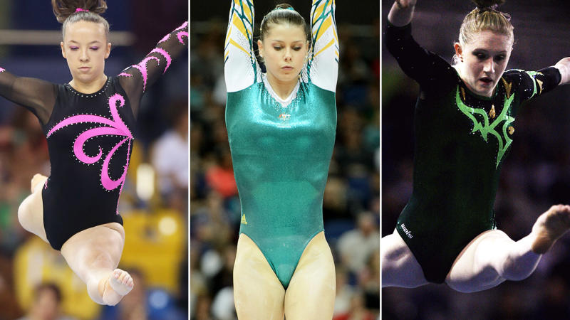 Mary-Anne Monckton, Georgia Bonora and Olivia Vivian, pictured here during their gymnastics careers.