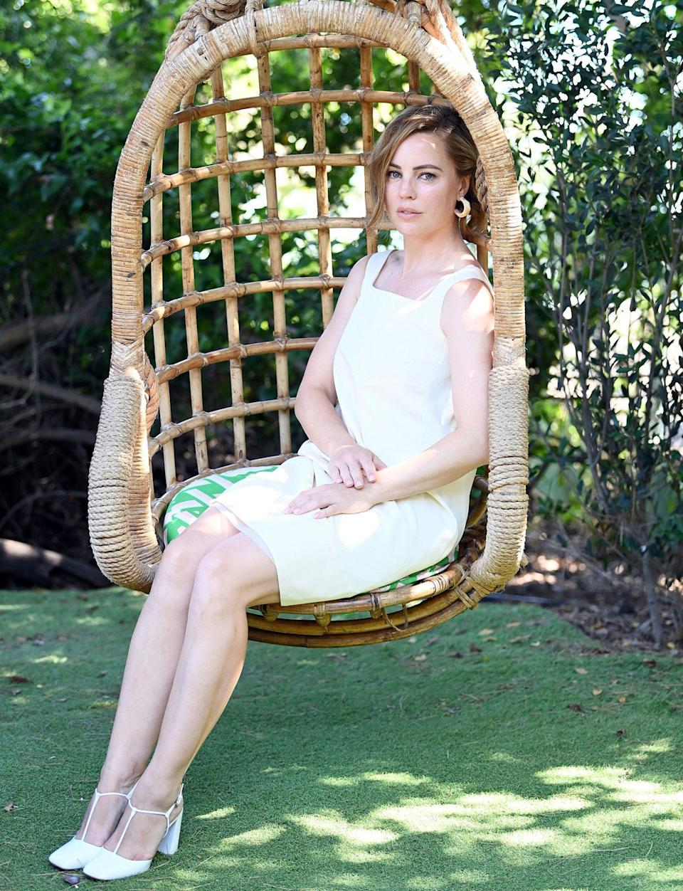 <p>Melissa George wears all white as she attends the 2020 Filming Italy Sardegna Festival on Sunday in Santa Margherita di Pula, Italy. </p>