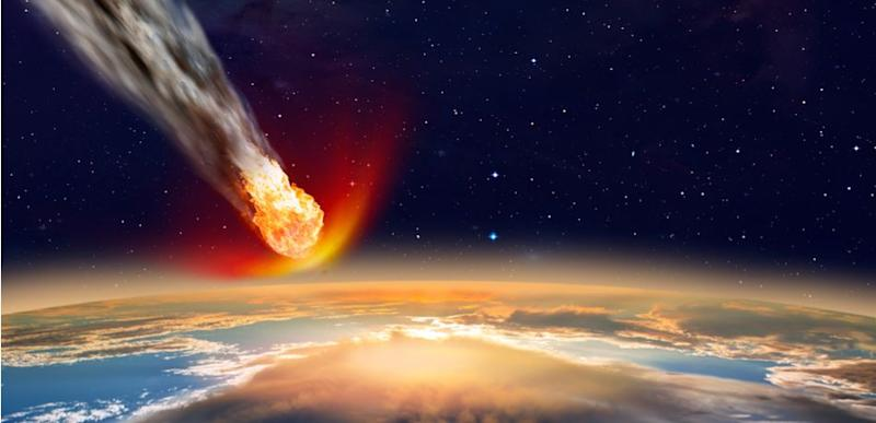 Artist's impression of an asteroid colliding with Earth.