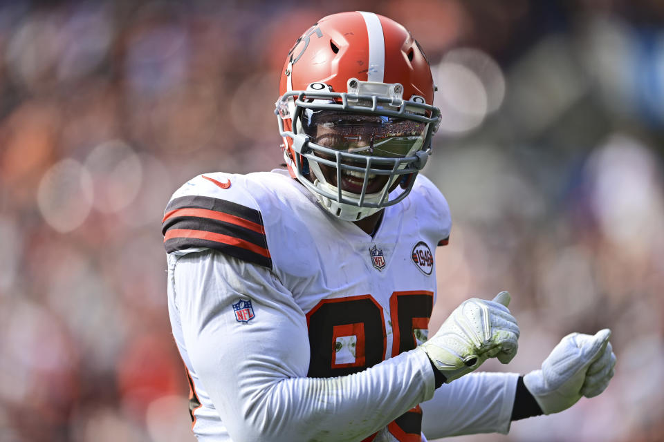 Cleveland Browns defensive end Myles Garrett smiles after Garrett sacked Chicago Bears quarterback Justin Fields during the second half of an NFL football game, Sunday, Sept. 26, 2021, in Cleveland. (AP Photo/David Dermer)