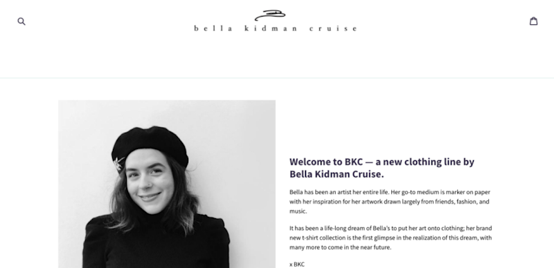 The landing page on Bella Cruise's new clothing line website.