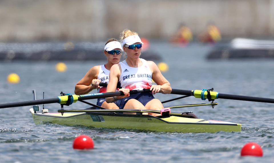 Polly Swann on the water at Tokyo 2020 with Team GB teammate Helen Glover