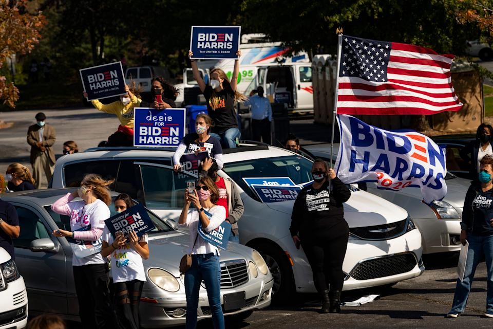 A crowd gathers for Democratic vice presidential candidate Sen. Kamala Harris, D-Calif., during a campaign rally Nov. 1, 2020, in Duluth, Ga.