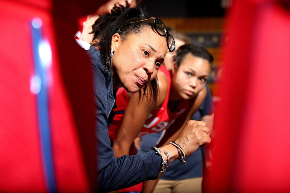 WASHINGTON, DC - SEPTEMBER 10: Head Coach Dawn Staley of the USA National Team leads huddle against the Japan National Team on September 10, 2018 at the Charles E Smith Center at George Washington University in Washington, DC. NOTE TO USER: User expressly acknowledges and agrees that, by downloading and/or using this Photograph, user is consenting to the terms and conditions of the Getty Images License Agreement. Mandatory Copyright Notice: Copyright 2018 NBAE (Photo by Ned Dishman/NBAE via Getty Images)