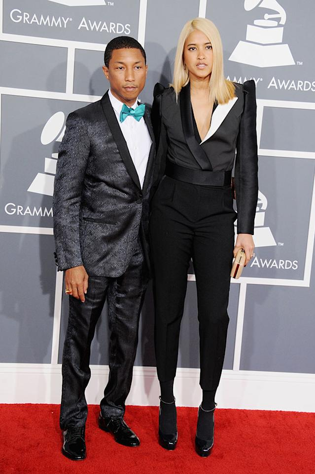 Pharrell Williams and Helen Lasichanh arrive at the 55th Annual Grammy Awards at the Staples Center in Los Angeles, CA on February 10, 2013.