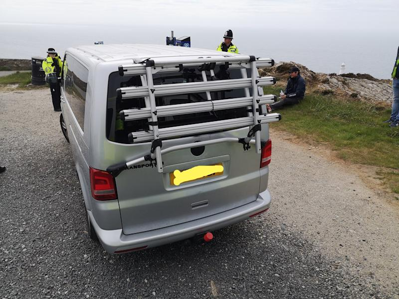 A family of 11 in three vehicles were stopped at a Welsh beauty spot on Sunday (North Wales Police)