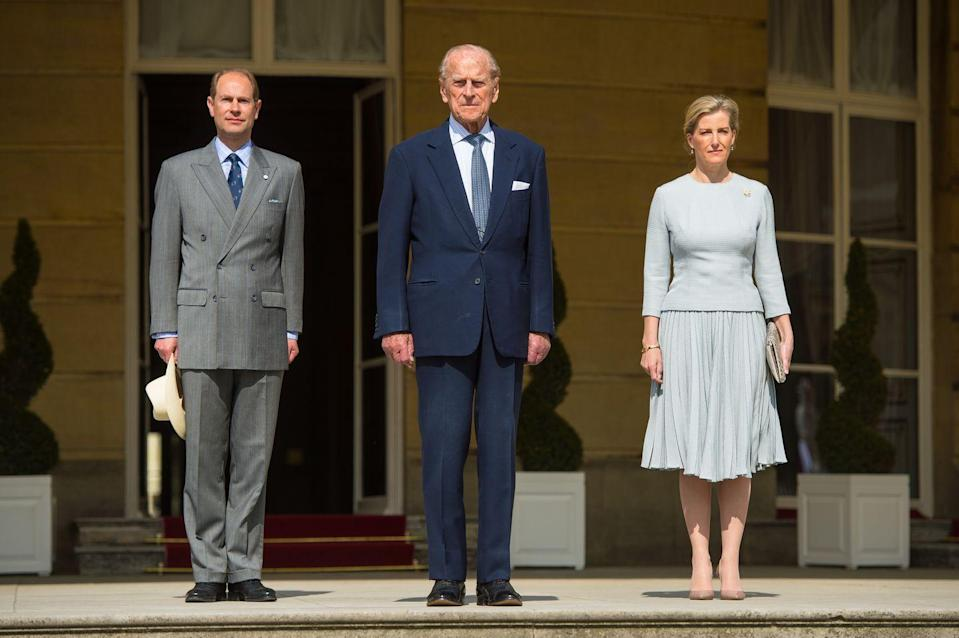 <p>Prince Edward, Prince Philip and the Countess of Wessex attending the Duke of Edinburgh's Award's 60th Anniversary Garden Party at Buckingham Palace in 2016.</p>