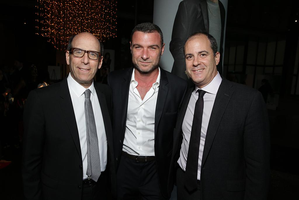 Showtime Chairman and Chief Executive Officer, Matthew C. Blank; Liev Schreiber; Showtime President Of Entertainment, David Nevins, seen at the Showtime Premiere of the New Drama Series Ray Donovan presented by Time Warner Cable, on Tuesday, June, 25, 2013 in Los Angeles. (Photo by Eric Charbonneau/Invision for Showtime/AP Images)