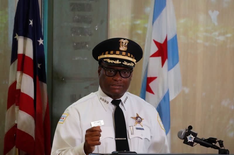 Chicago Police Department Superintendent David Brown speaks during a news conference in Chicago