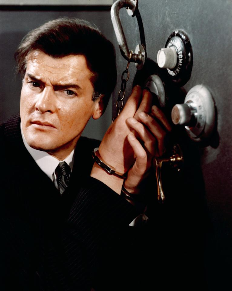 <p>Moore honed his secret-agent chops as Simon Templar in this classic British TV series, playing a charming, roguish antihero who robs from the rich…and keeps the spoils for himself. Moore made a voice-only cameo in the 1997 film version starring Val Kilmer. (Photo: Everett Collection) </p>
