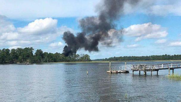 PHOTO: Smoke bellows from a military jet that crashed, Friday, Sept. 28, 2018 in Beaufort, S.C. (Kensley Crosby/AP, FILE)