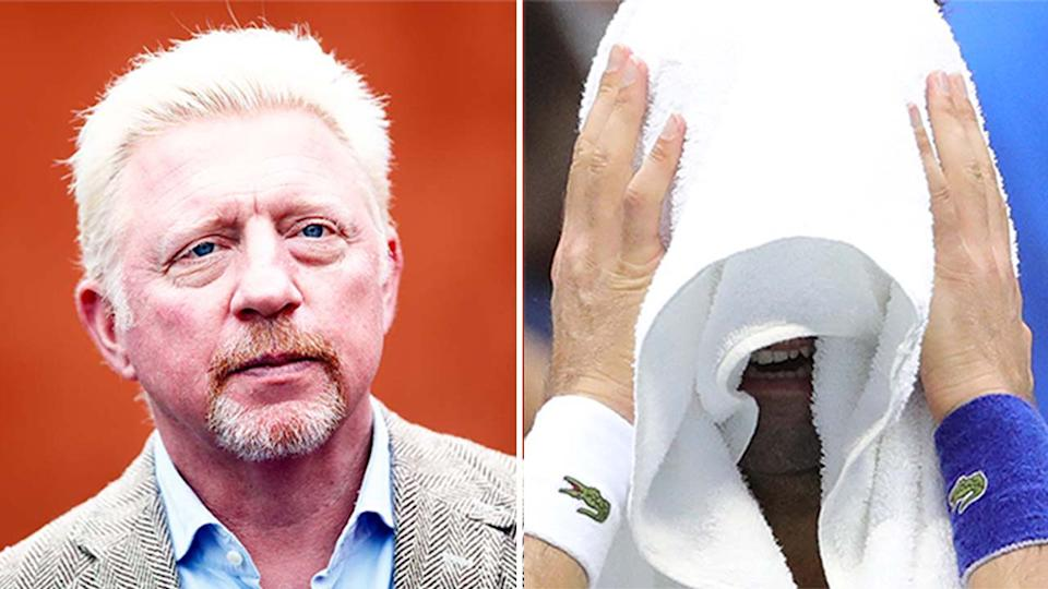 Boris Becker (pictured left) during Wimbledon and Novak Djokovic (pictured right) crying during the US Open men's final.