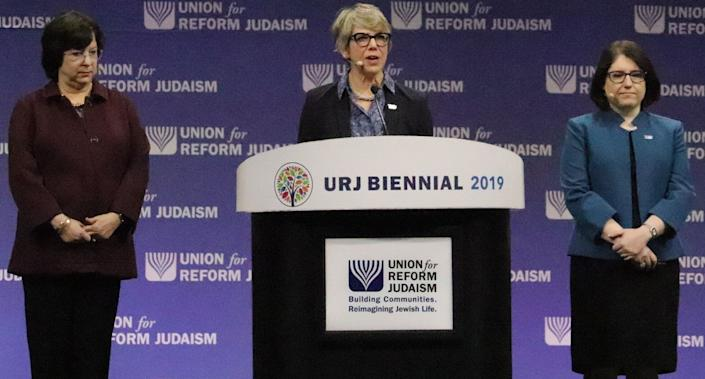 Leaders for the Union for Reform Judaism speak before the passing of a resolution supporting the creation of a federal commission to study and develop proposals for reparations in Chicago on Dec. 13, 2019. (Photo: The Union for Reform Judaism)