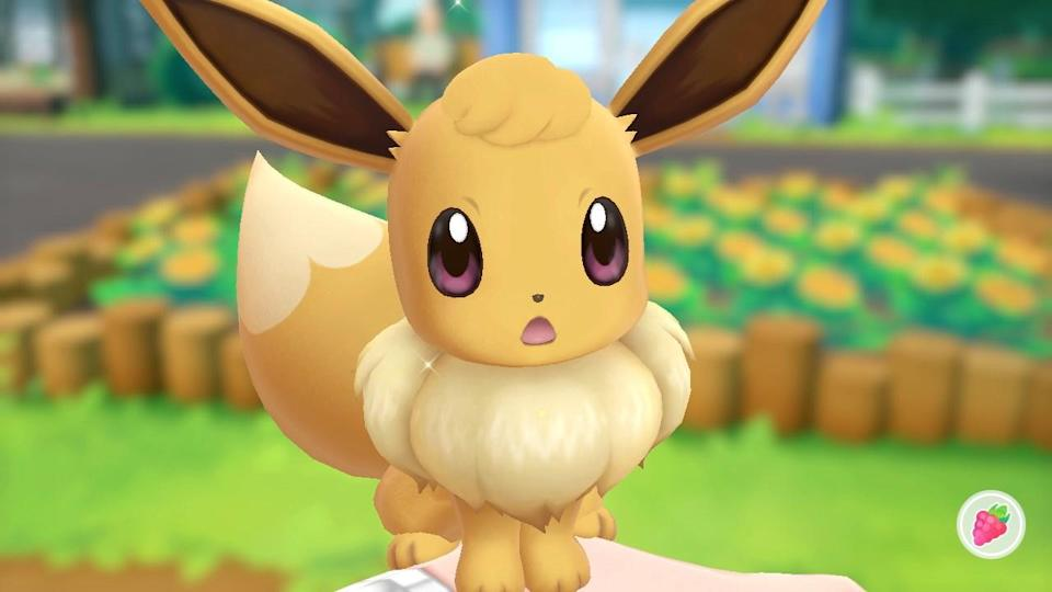 You can pet and play with Eevee and Pikachu depending on which version of the game you buy.