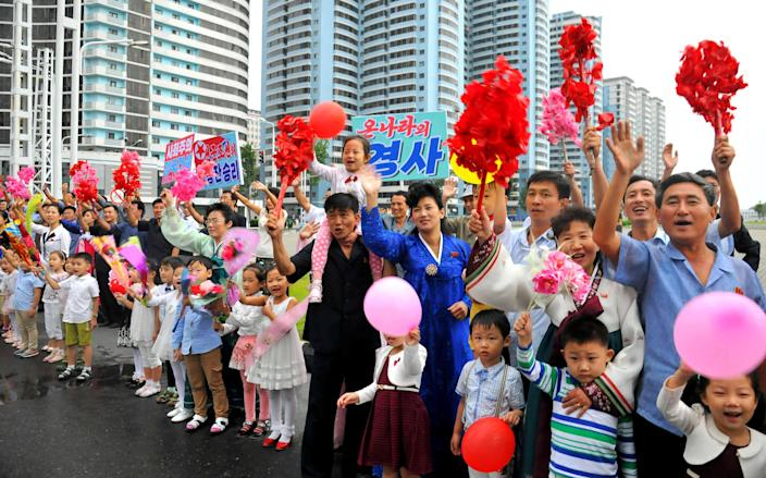 People show support for those who contributed to the success of the intercontinental ballistic rocket program, Pyongyang, North Korea, Sept. 6, 2017. (Photo: KCNA via Reuters)
