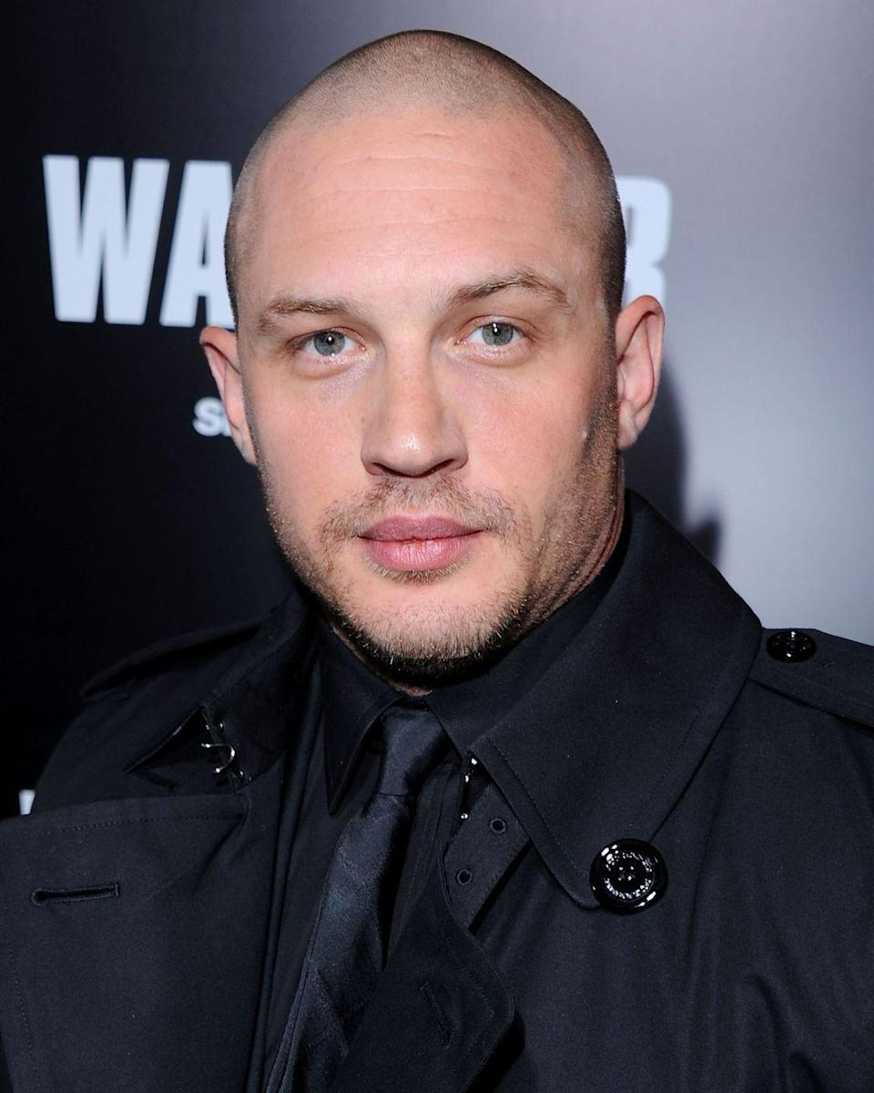 <p>Tom Hardy sported a clean-shaven head while filming <em>The Dark Knight Rises</em>. The look was essential to his character, the evil villain Bane, in the <em>Batman </em>series.  </p>
