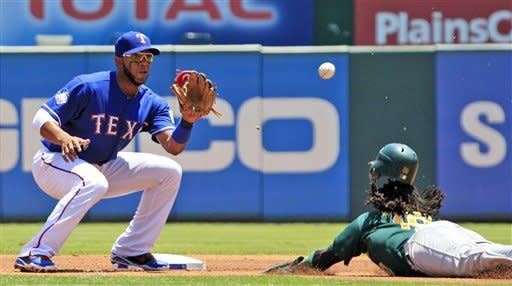 Oakland Athletics' Jemile Weeks (19) slides in but can't beat the pick-off throw to Texas Rangers shortstop Elvis Andrus (1) during the first inning of a baseball game, Thursday, May 17, 2012, in Arlington, Texas. Weeks was out on the play. (AP Photo/LM Otero)