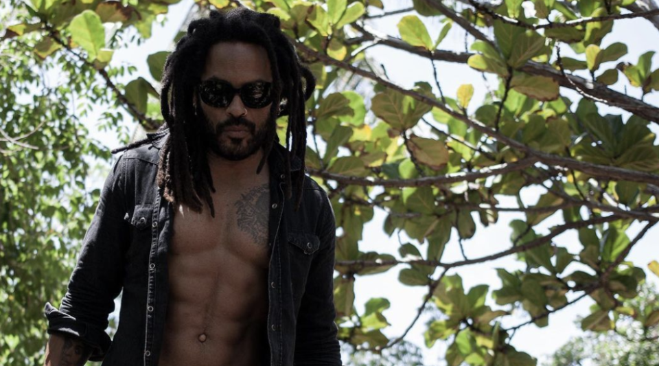 Lenny Kravitz, 57, shows off toned abs in unbuttoned shirt: 'Building a deck'
