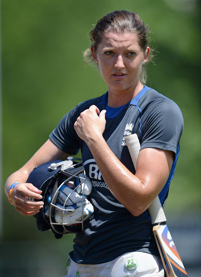 COLOMBO, SRI LANKA - OCTOBER 06:  Sarah Taylor of England waits to bat during a nets session at Colts Cricket Ground on October 6, 2012 in Colombo, Sri Lanka.  (Photo by Gareth Copley/Getty Images)