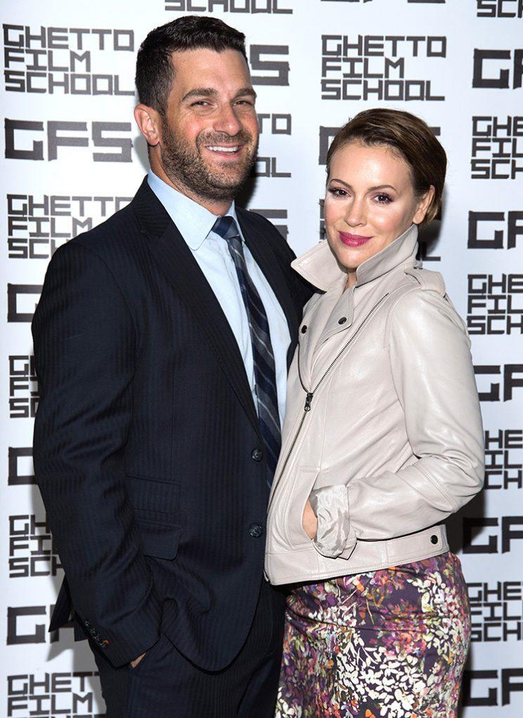 David Bugliari and Alyssa Milano attend a benefit hosted by Brian Grazer for the Ghetto Film School on October 6, 2016