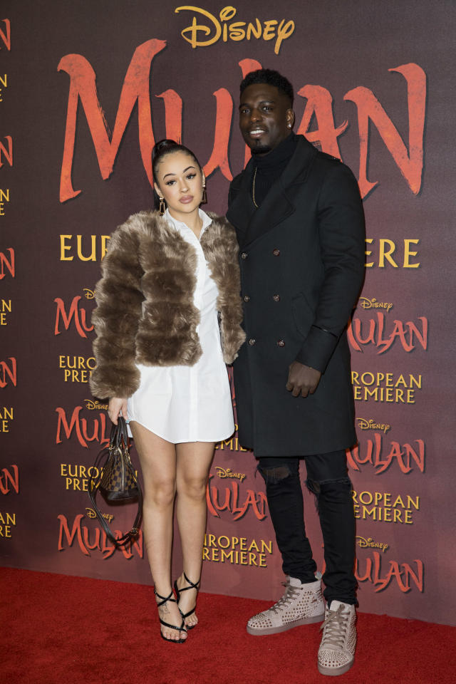 """Rebecca Vieira and Marcel Somerville attend the """"Mulan"""" European Premiere at Odeon Luxe Leicester Square on March 12, 2020 in London, England. (Photo by Tristan Fewings/Getty Images)"""